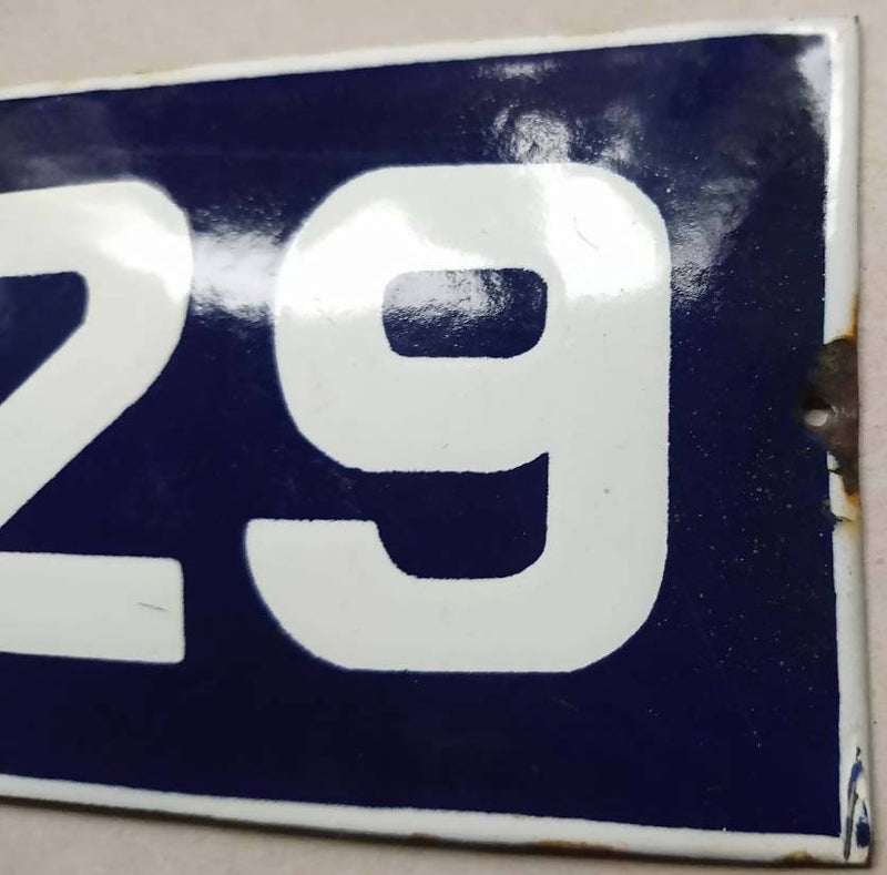 French Enamel House Numbers No 29