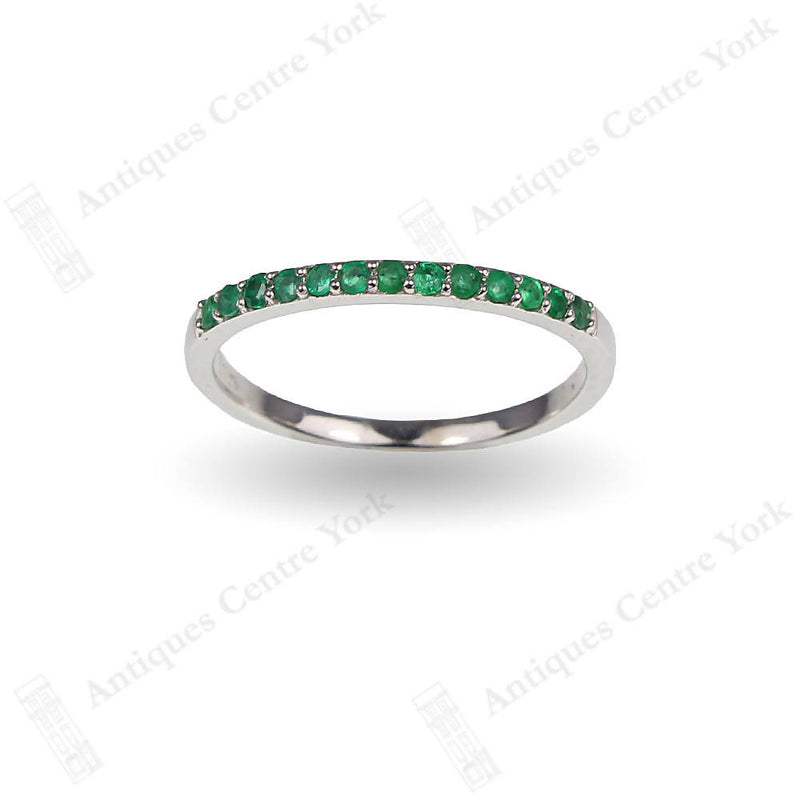 18ct White Gold Emerald Half Eternity Ring