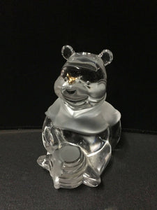 LENOX (Germany) Lead Crystal DISNEY 'Winnie The Pooh' with 22 Carat Gold Butterfly Clear and Frosted Glass Figurine Paperweight