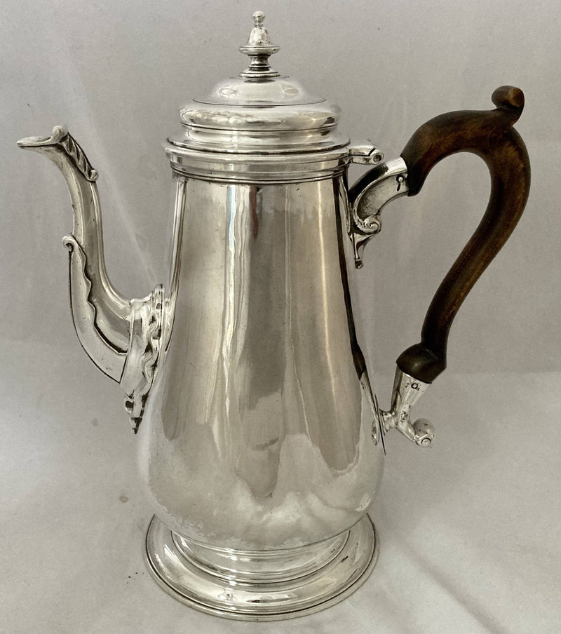 Georgian, George II, Silver Armorial Coffee Pot for Seamark. London 1742 Richard Bayley. 23.8 troy ounces.