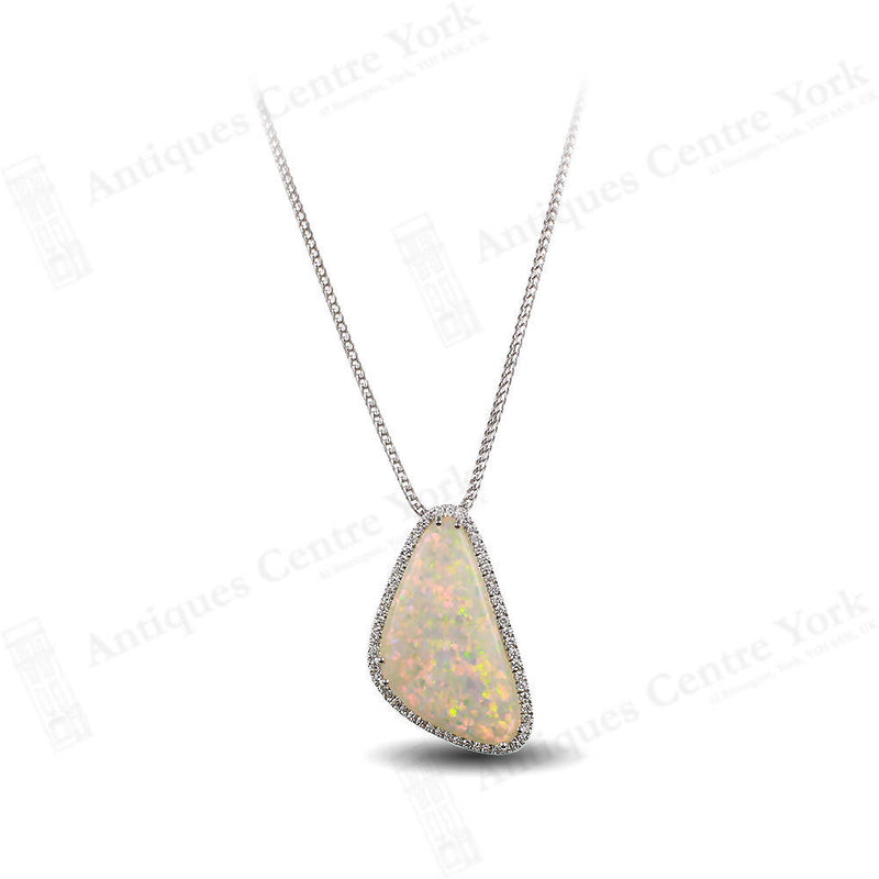 Handmade Fine Natural Opal & Diamond Pendant
