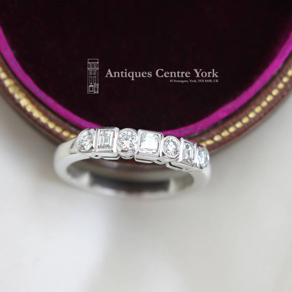 18ct White Gold Round & Baguette Diamond 0.50ct Half Eternity