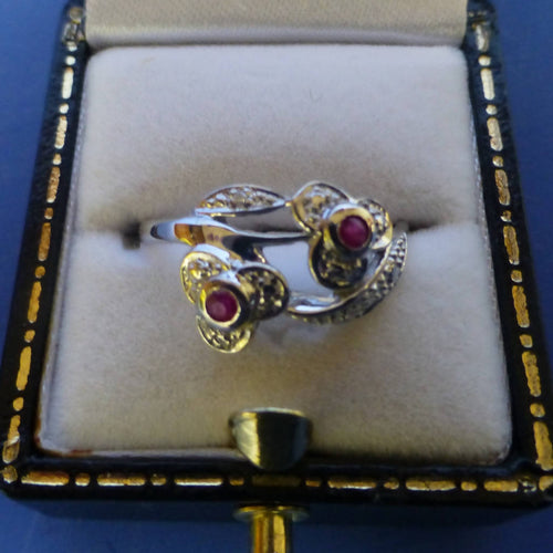 Silver Ruby Ring (Two Sone) Size N