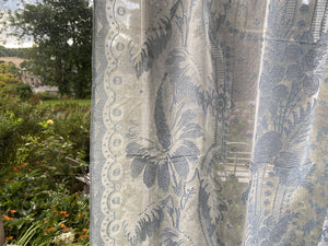 "Xanthe beautiful pale blue highend period design cotton lace panel to finish 66""/41"""