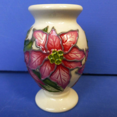 Moorcroft Miniature Vase Poinsettia December Birthday By Vicky Lovatt