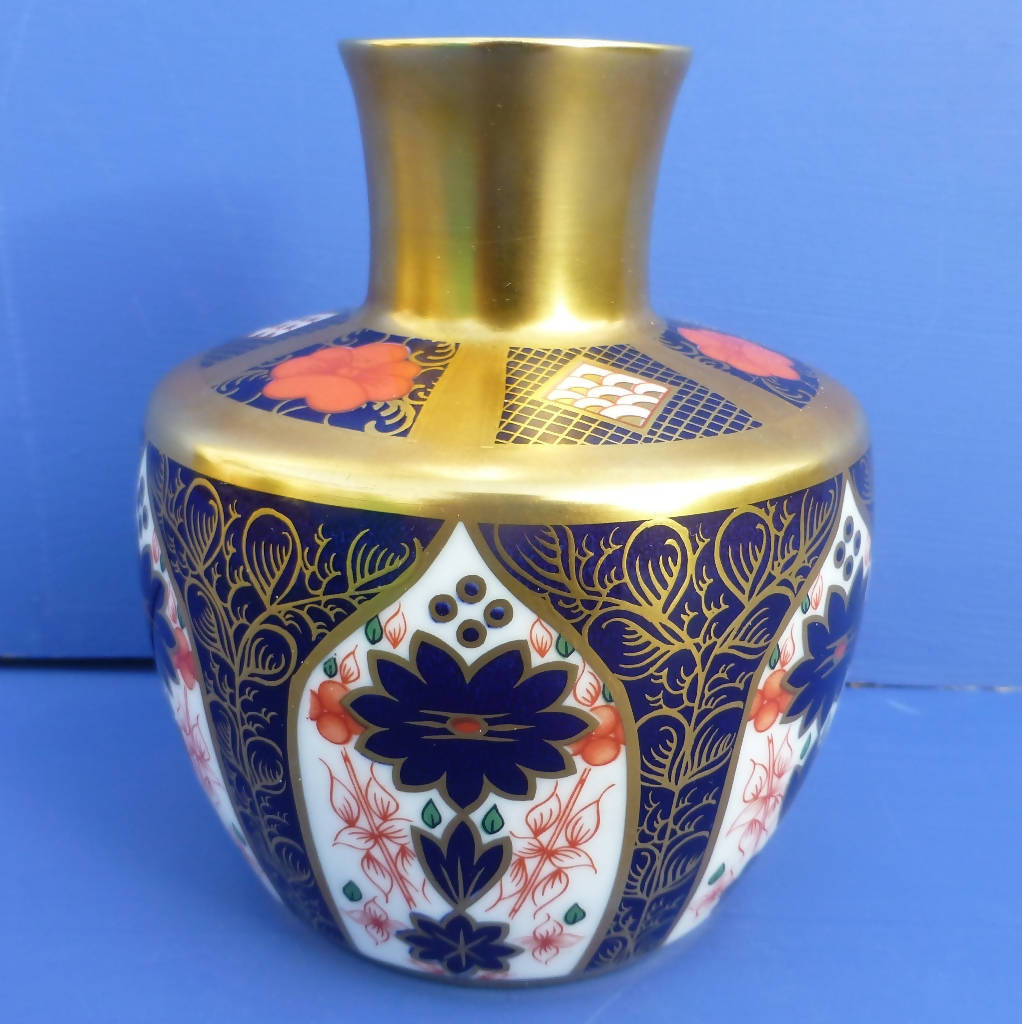 Royal Crown Derby Imari 1128 Solid Gold Band (SGB) Vase