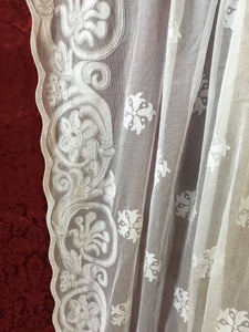 Shani Antique Victorian Style White Madras Cotton Lace Curtain Panel - 68 x 120 Inches readymade