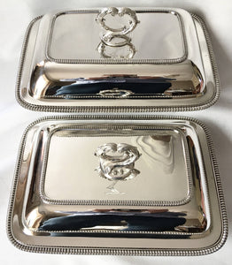 Georgian, George III, pair of silver entree dishes and covers. London 1806/07 John Edwards III. 102 troy ounces.