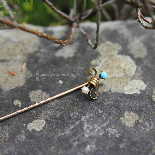 Victorian 15ct Turquoise & Pearl Stick Pin