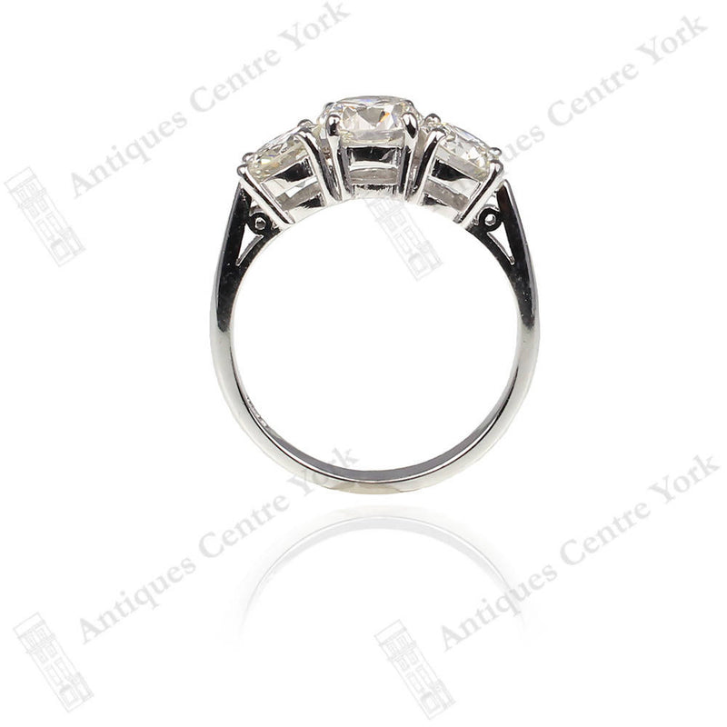 Certified 18ct White Gold Diamond 3.35cts Three Stone Ring