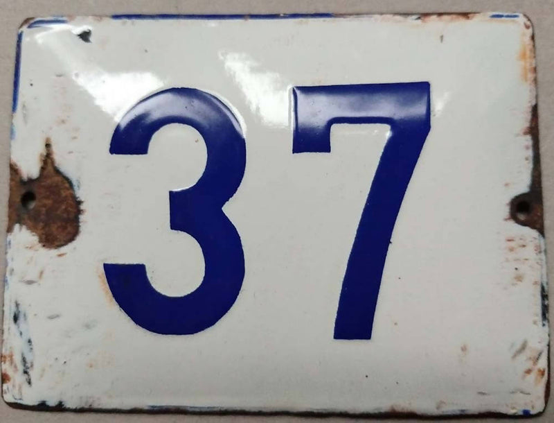 French Enamel House Numbers No 37