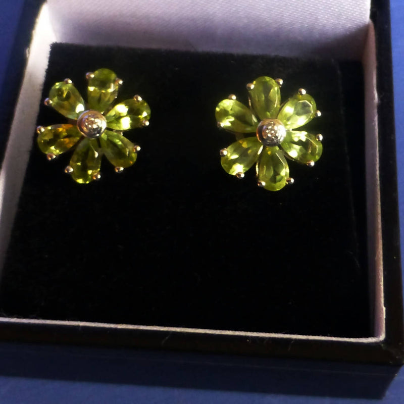Silver Peridot Flower Earrings
