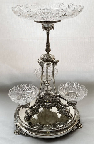 Victorian Silver Plated & Cut Glass Centrepiece with Mirrored Plateau. Henry Wilkinson & Co. of Sheffield, circa 1850 - 1870.