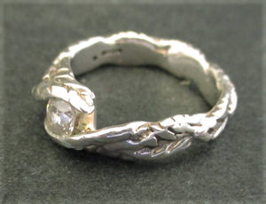 "Jake: ""Leaves"" - zirconia set silver ring"