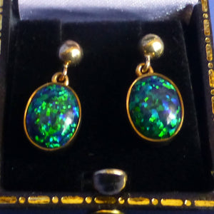 9ct Gold Black Opalite Drop Earrings