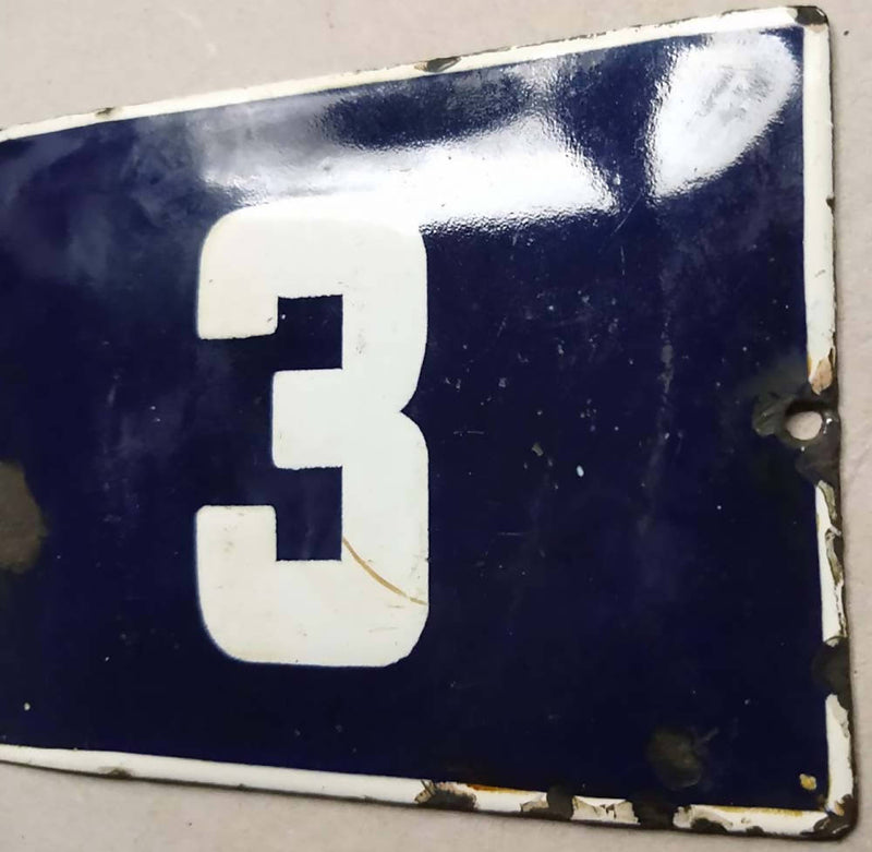 French Enamel House Numbers No 3