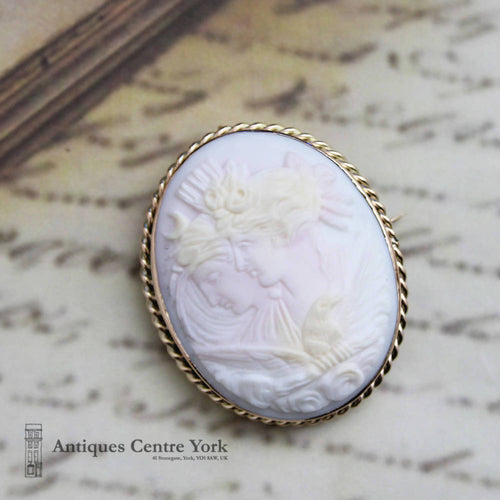 Victorian 9ct Night & Day Cameo Brooch