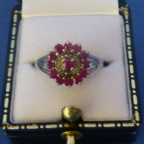 Silver Ruby and Diamond Ring Size M