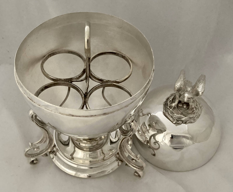 Silver Plated Egg Coddler with Bird & Nest Finial.