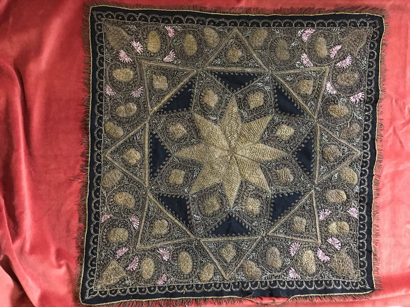 "Rare Antique Embroidered metallic thread table cover decor amazing intricate embroidery gold threads 32"" sq metallic cashmere"