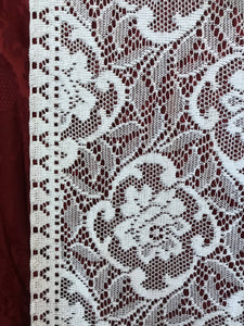 """Danish Rose"" Vintage White Cotton Lace Curtain Panelling Sold By The Metre"