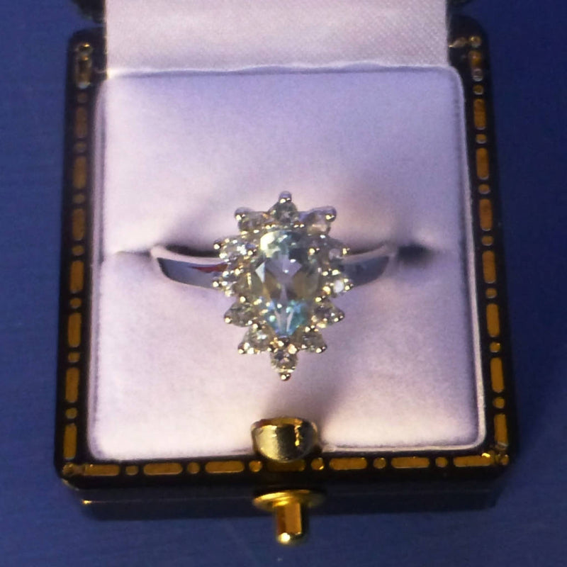 Silver Blue Topaz Ring Size O