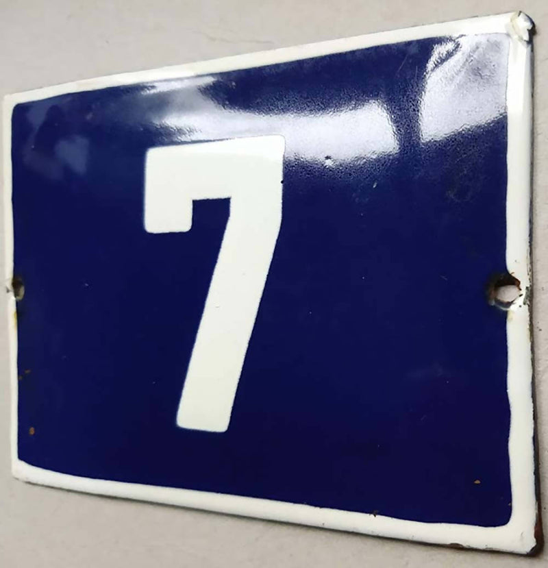 French Enamel House Numbers No 7