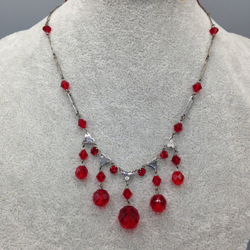 1950's ruby glass necklace