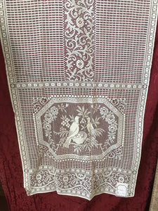 "Beautiful birds cream cotton lace Curtain panel 30""/60"""