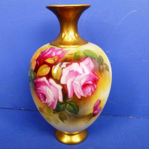 Worcester Roses Vase Signed By Millie Hunt C1931