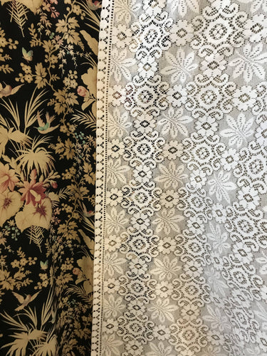 "Laura Ashley period Style Cotton Lace Curtain Panelling 56""wide per metre"