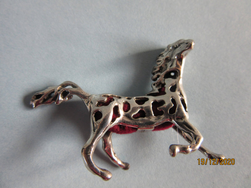 Sterling Silver Edwardian style pierced Horse Stallion Red Pin Cushion
