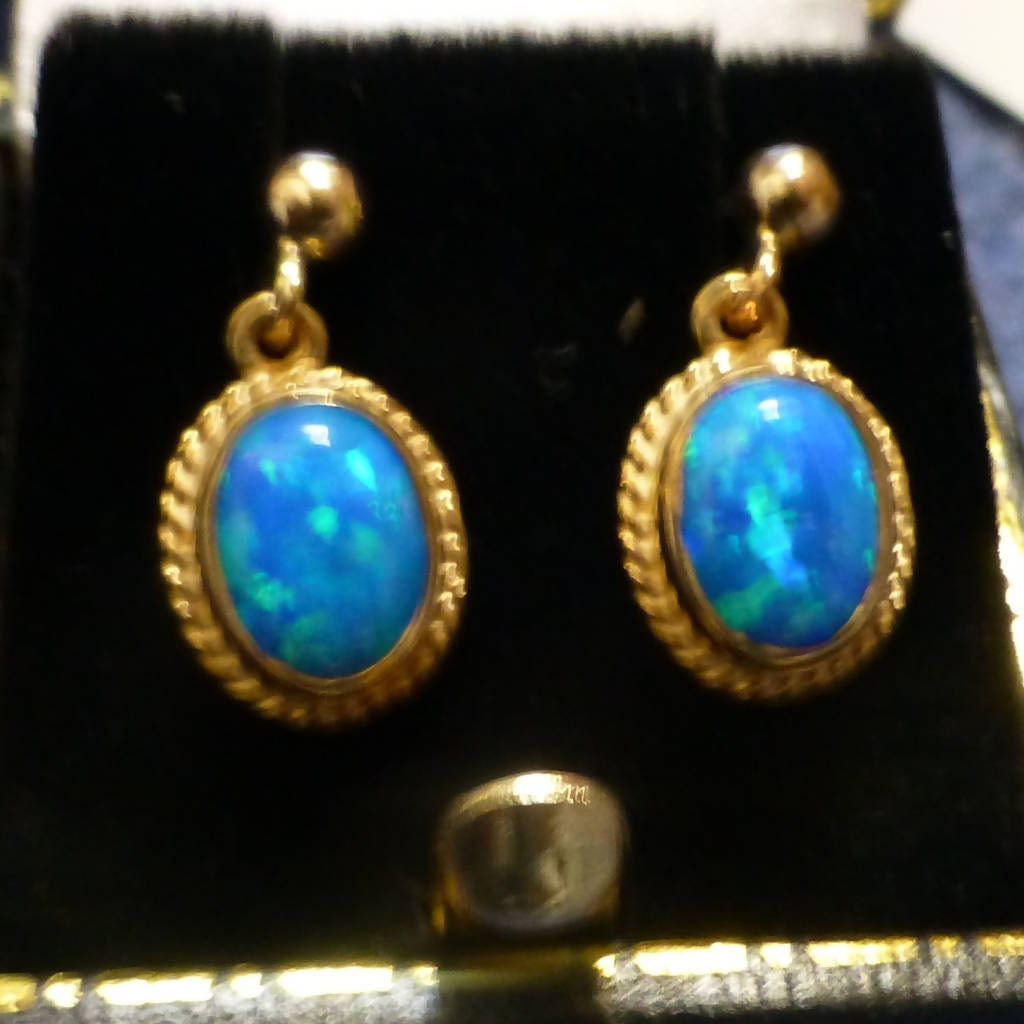 9ct Gold Blue Opalite Drop Earrings
