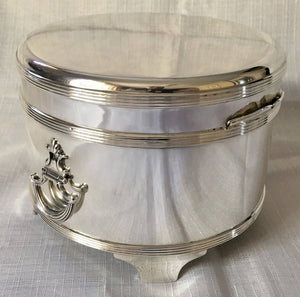 Asprey Solid Silver George V Biscuit Box in Original Fitted Case, London 1914