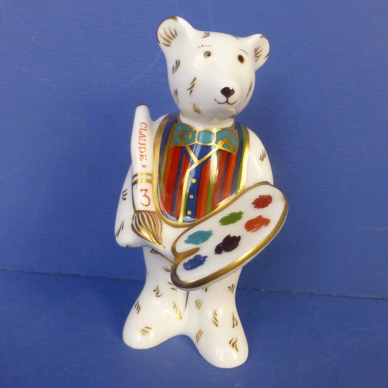 Royal Crown Derby Miniature Teddy Bear Claude The Artist (Boxed)