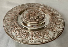 Elkington, Victorian, Neo Classical Silver Plate on Copper Circular Inkstand. Elkington & Co. 1873.