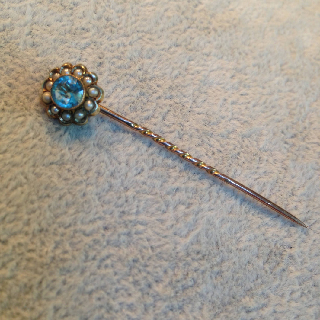 9ct gold, seed pearl and blue stone stickpin