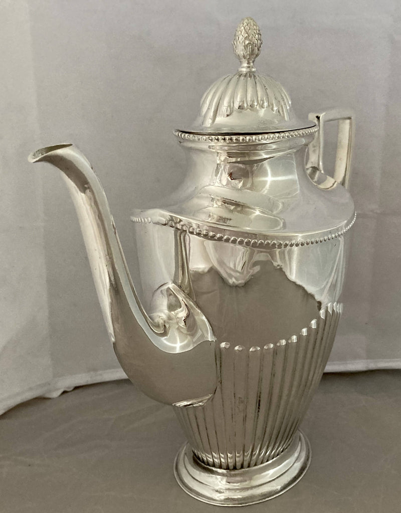 Silver Plated Coffee Pot with Fluted Decoration. C. R. Carlstrom of Stockholm, Sweden.