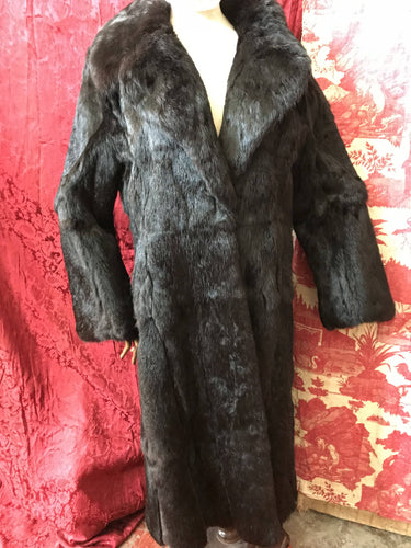 Vibtage c 1979 long coney brown Fur Coat new old stock leather panels