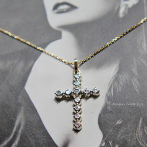 Vintage 14ct Gold & Rose Diamond Cross