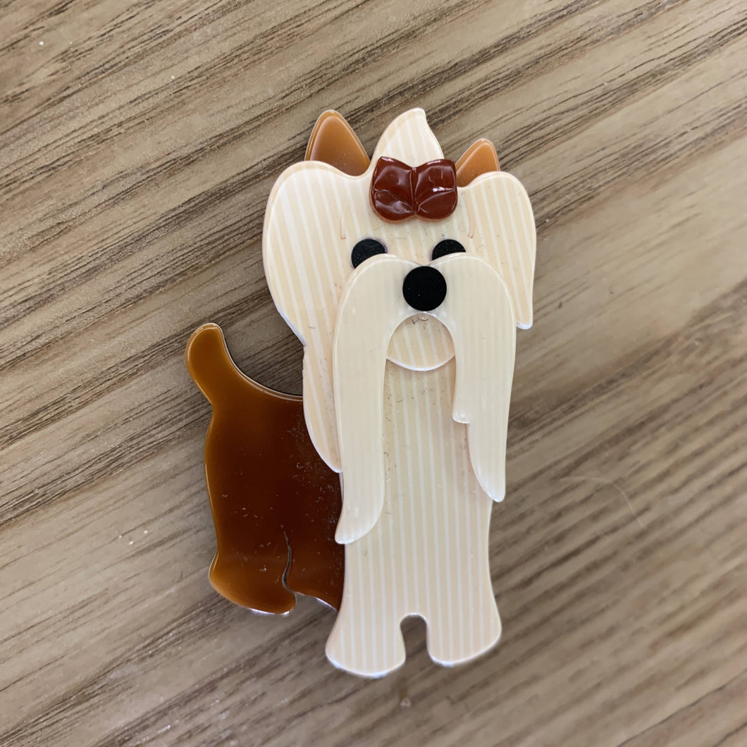 Lea Stein Paris Dog Brooch Shih Tzu Yorkshire terrier