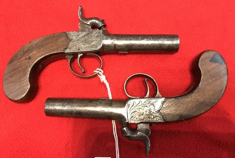 Pair of English Boxlock Percussion Pocket Pistols by William Calvert of Leeds c1804