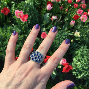 Silver Sapphire Blue Marcasite Ring