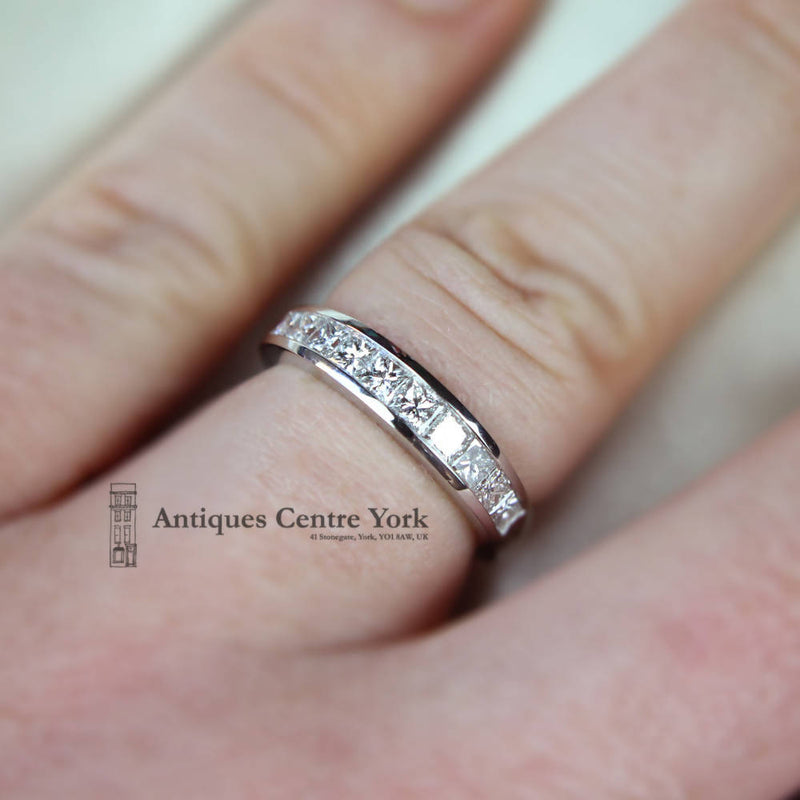 Platinum Princess Cut Diamond 1.00ct Half Eternity Ring