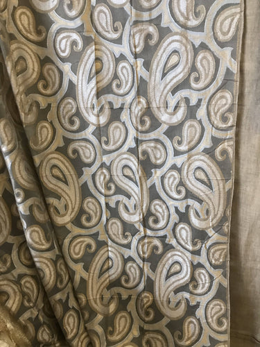 "Silver and Gold Paisley on grey cotton madras lace top end designer Panel - 68""/100""to finish"