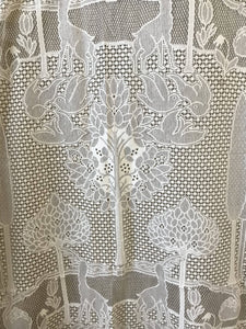 "Arts & crafts cream cotton lace curtain The Stag 68""/118"""