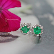 18ct White Gold Emerald & Diamond Earrings