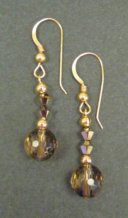 9ct gold crystal and quartz earrings