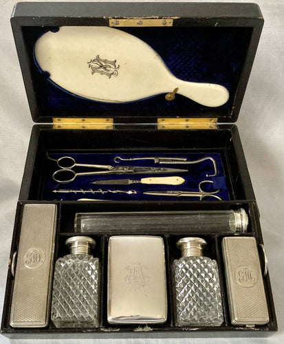 Mid Victorian Cased Travel Vanity Set with Matched Silver Fittings & Silver Travel Inkwell.
