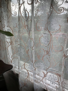 "Sally Cotton Lace Madras Curtain panelling 68""/80""long siobhan cream cotton"